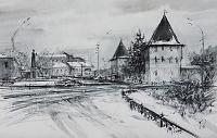 Площадь Богоявления Ярославль. Январь. Графика 02