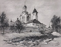 У стен Спасо-Преображенского монастыря. графика