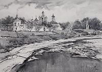 Весна на Которосли . СпасщПреображенский монастырь  графика
